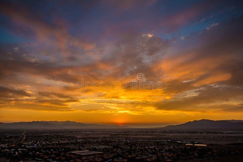 日落在NV 免版税图库摄影