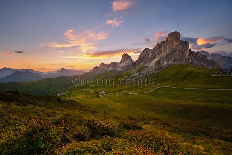 日落在Passo与花在前景,白云岩,意大利的di Giau的夏天 免版税库存照片