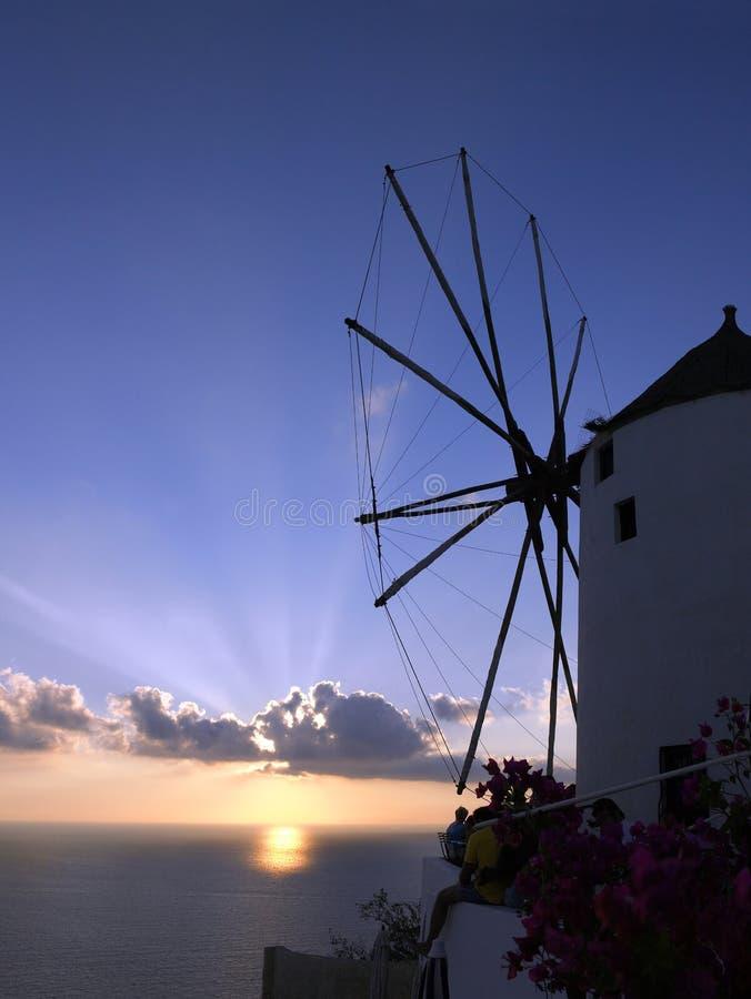 日落在Santorini -希腊 库存照片