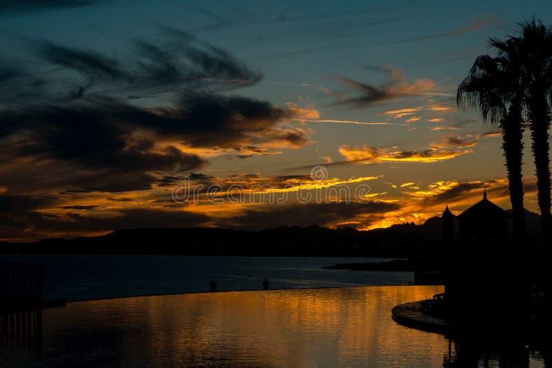 日落在Sharm el Shaih 免版税图库摄影