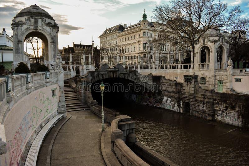 日落在Stadtpark的12月,维恩 免版税库存图片