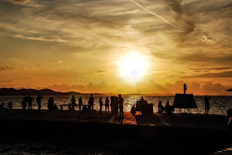 日落在Zadra -克罗地亚 免版税库存图片