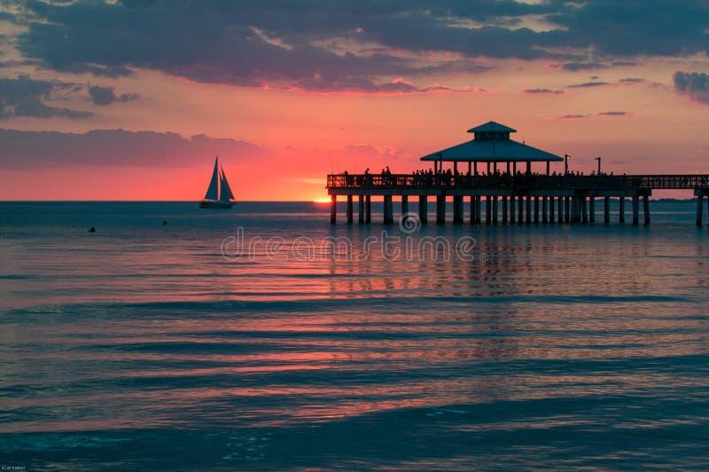日落堡垒迈耶斯海滩 免版税库存图片