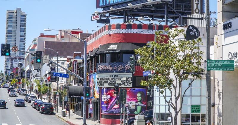 日落大道西部好莱坞街道视图-洛杉矶-加利福尼亚- 2017年4月20日 免版税库存照片