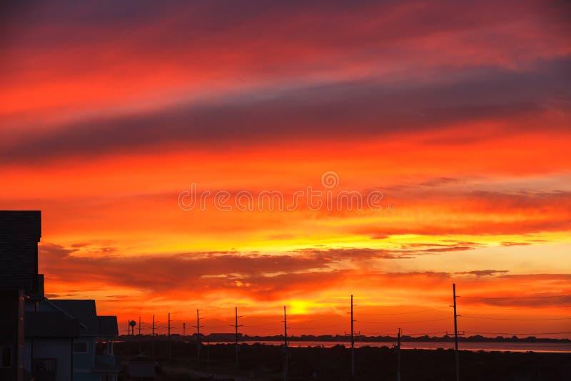 日落天空哈特拉斯角北卡罗来纳OBX 免版税库存照片