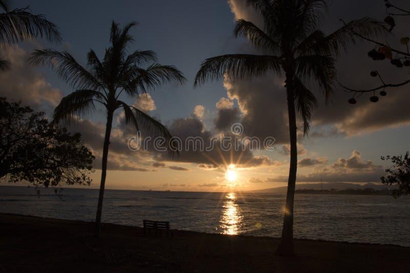 日落奥阿胡岛,夏威夷 免版税库存照片
