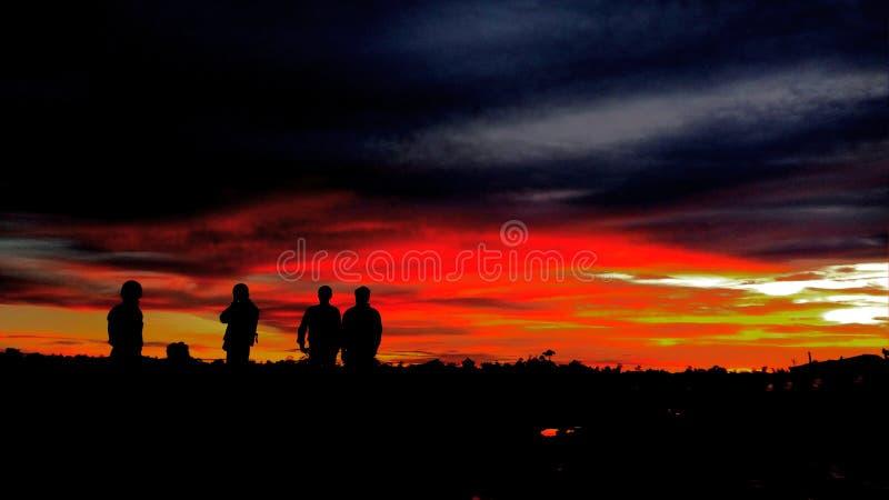 日落婆罗洲海岛 库存图片