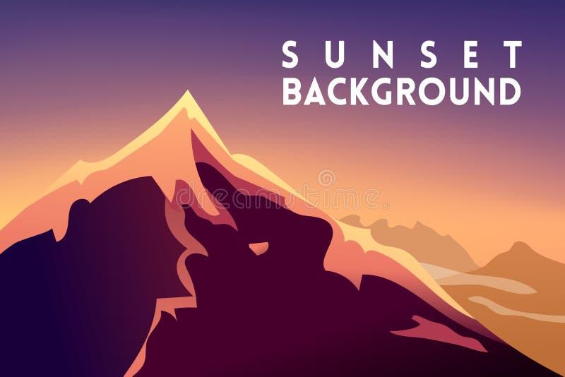 日落山风景山岭地区 山设计山背景日落传染媒介剪影  能 向量例证