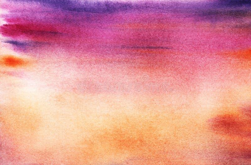 日落或上升的天空的真正的水彩背景 Pu 向量例证