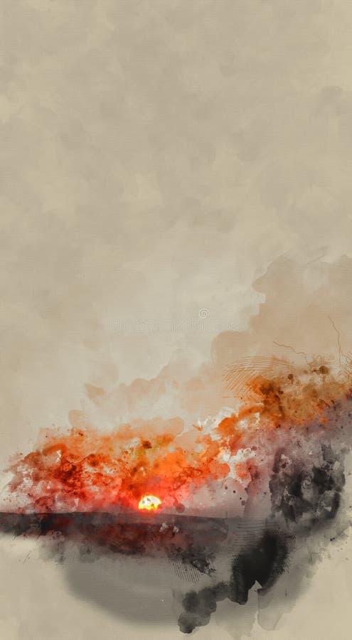 日落抽象艺术性的高分辨率数字水彩绘画与生动的橙色和黄色颜色的在纸纹理 皇族释放例证