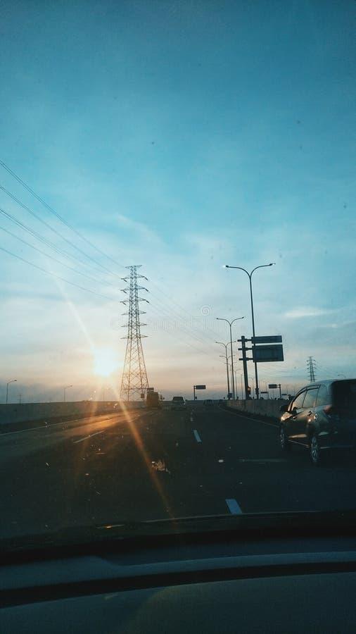 日落提醒我您,美丽 图库摄影