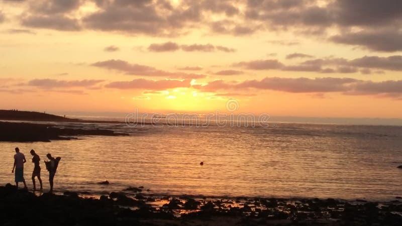 日落摩洛哥海滩 免版税库存照片