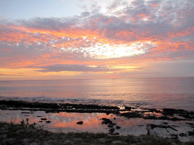 日落斐济岛 库存照片