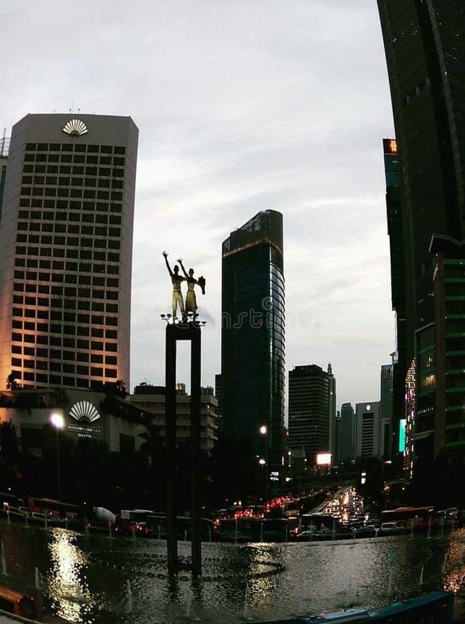 日落时间在中央雅加达 免版税库存图片