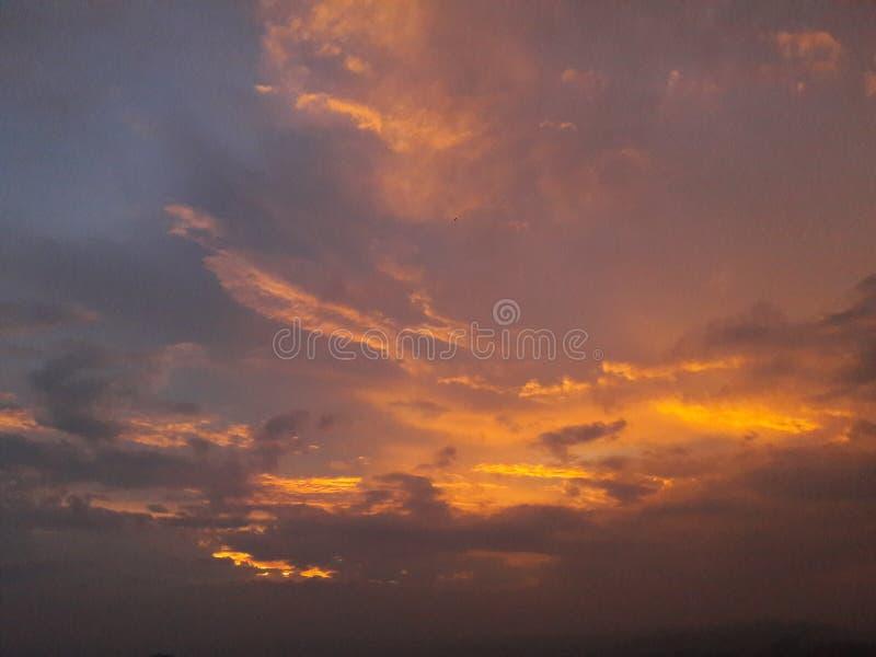 日落是美好的图象在万隆西部Java 库存图片