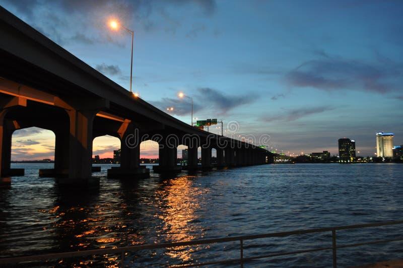 日落桥梁 库存图片