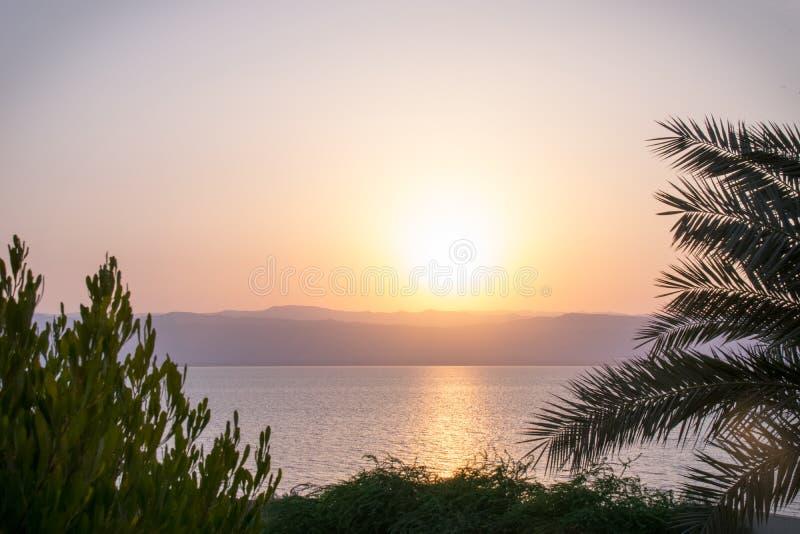 日落死海约旦 库存图片