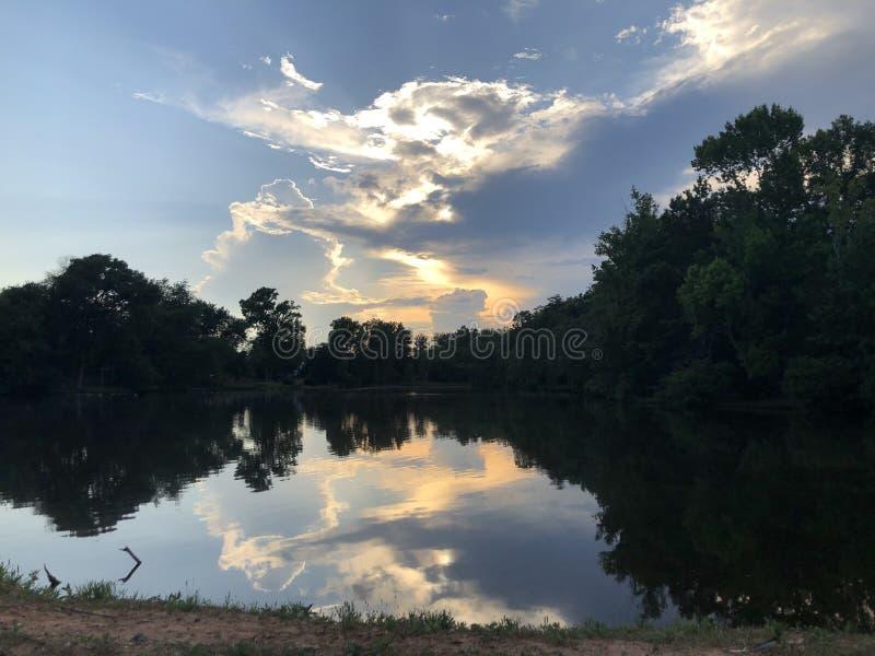 日落水反射 免版税图库摄影