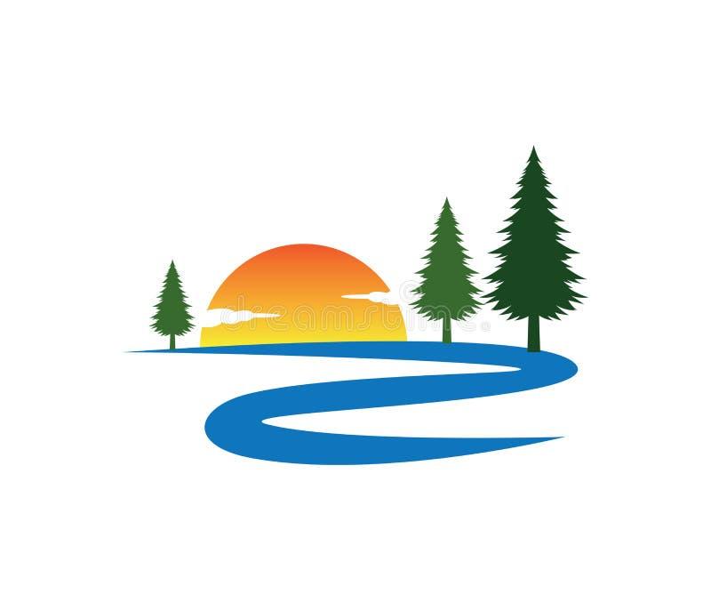 日落河路杉树传染媒介商标设计 向量例证