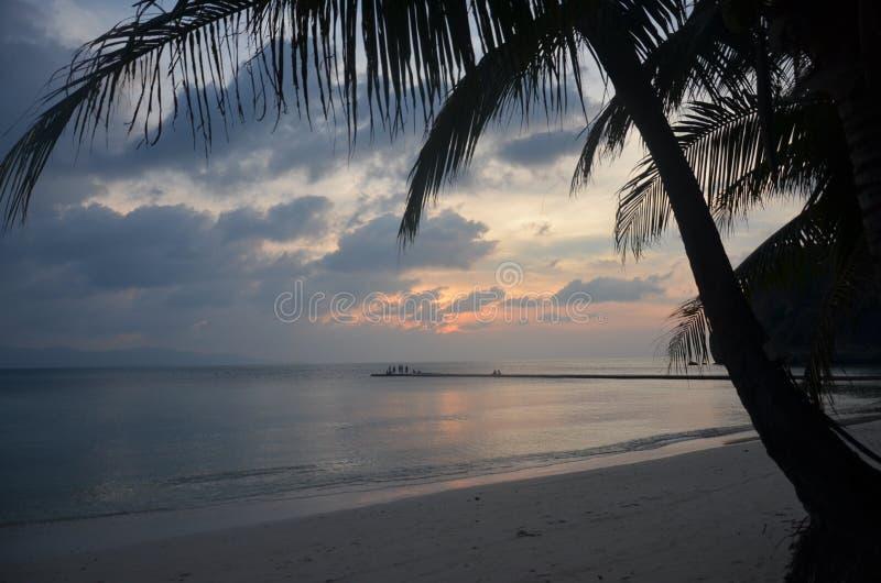 日落海岛 库存照片