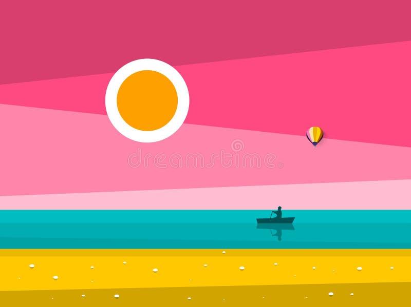 日落海洋风景 有人的日出海划艇剪影的 库存例证