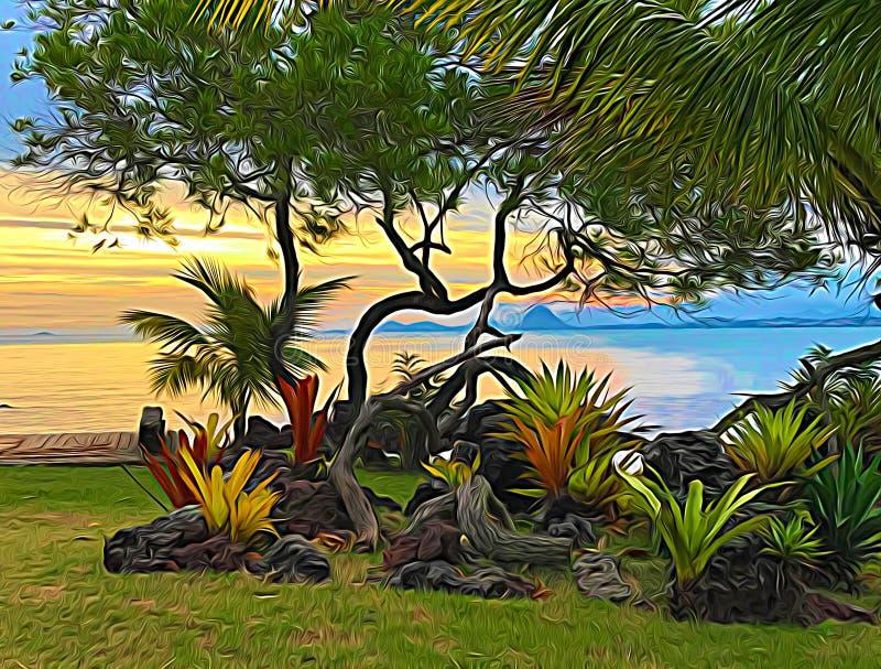 日落海滩02,数字式艺术Afonso法里亚斯 库存图片