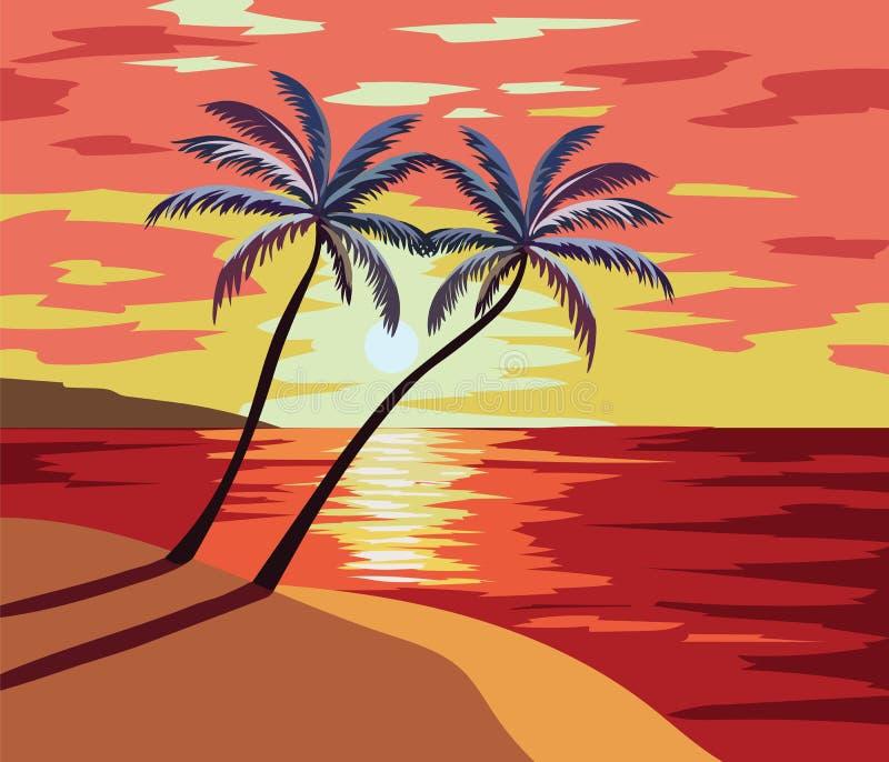 日落海滩传染媒介例证 皇族释放例证