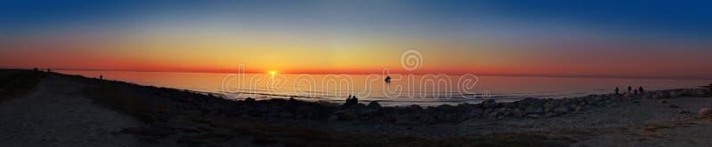 日落海洋全景 免版税图库摄影