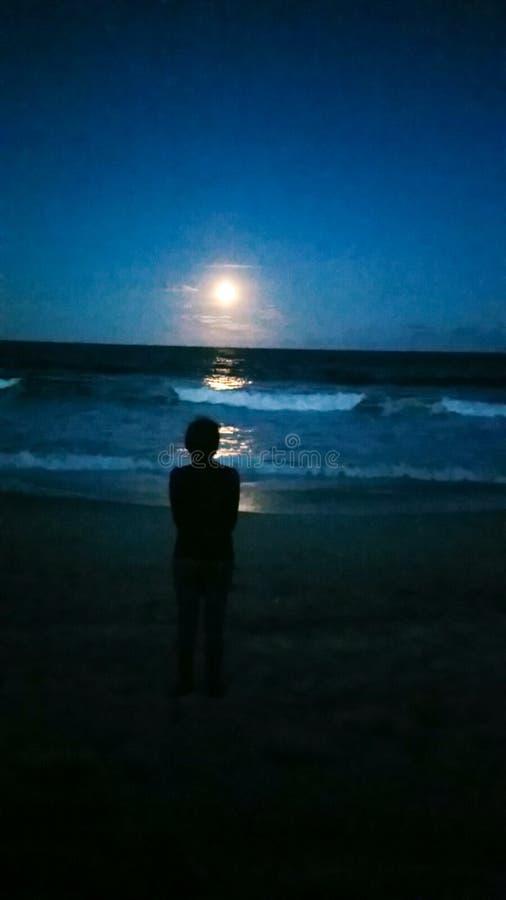 日落海滩天空夜波浪凝视 库存照片