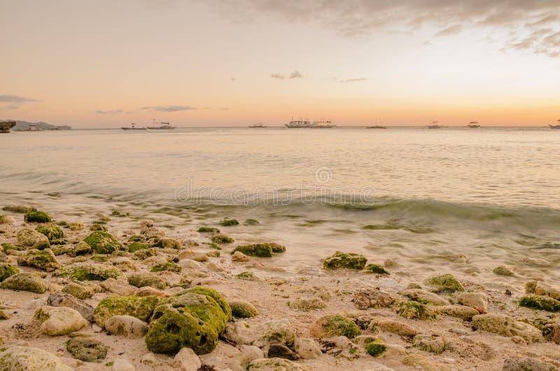 日落海滩 库存照片