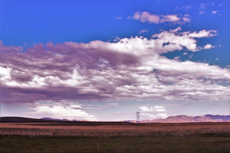 日落点,黑峡谷城市,亚瓦派县,亚利桑那,美国 免版税库存照片