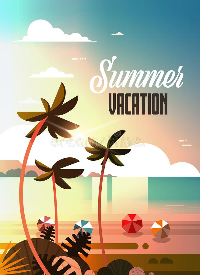 日落热带棕榈滩球观看暑假海边海海洋平的垂直的字法 向量例证