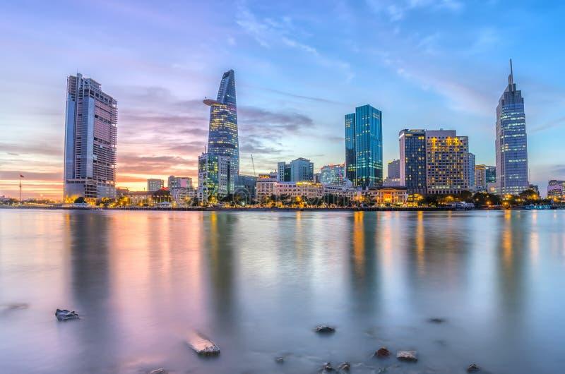 日落片刻在胡志明市,越南 免版税图库摄影
