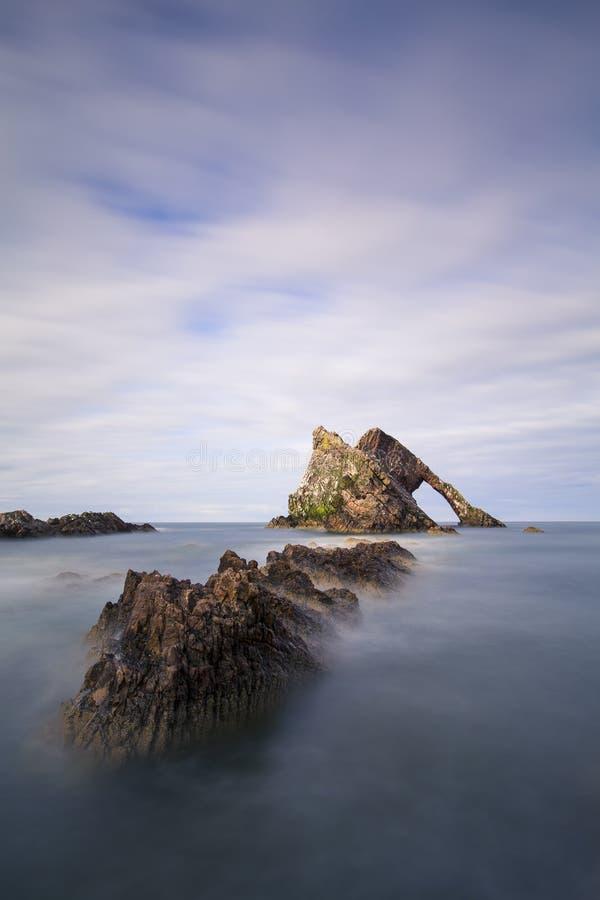 日落用在弓无意识而不停地拨弄岩石的光滑的水 免版税库存图片
