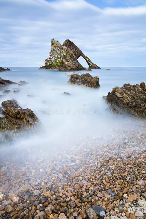 日落用在弓无意识而不停地拨弄岩石的光滑的水 免版税库存照片