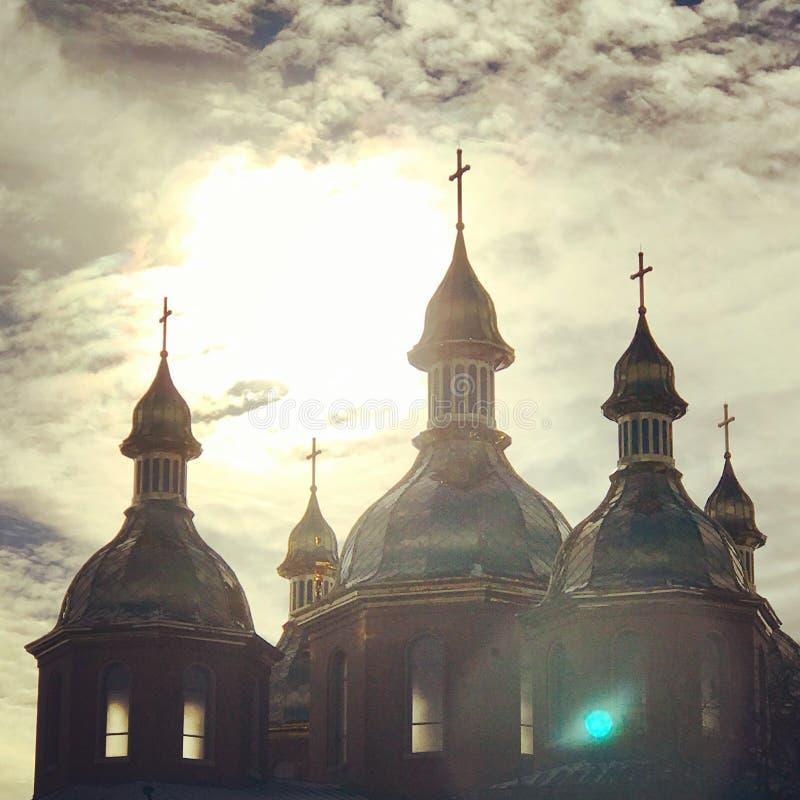 日落的乌克兰教会 免版税库存图片