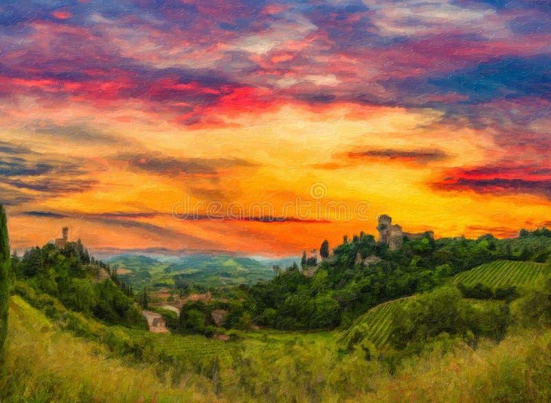 日落的例证在中世纪谷的 库存图片