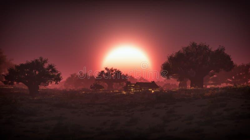 日落的偏僻的遥远的老木房子在沙漠 免版税库存照片