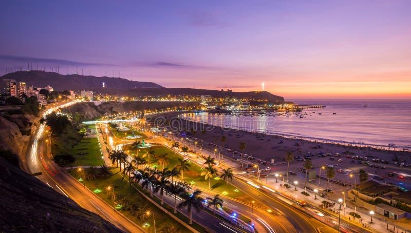 日落的利马秘鲁 免版税库存照片