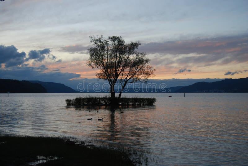 日落的博登湖 免版税库存图片