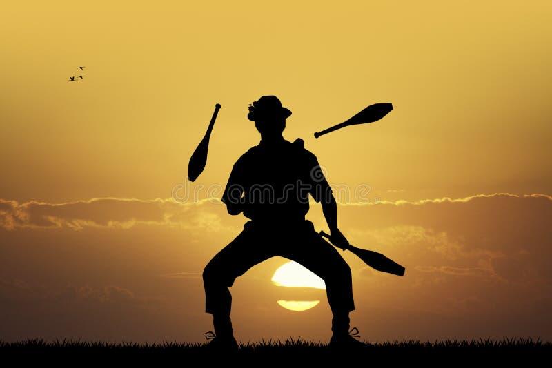 日落的变戏法者 皇族释放例证