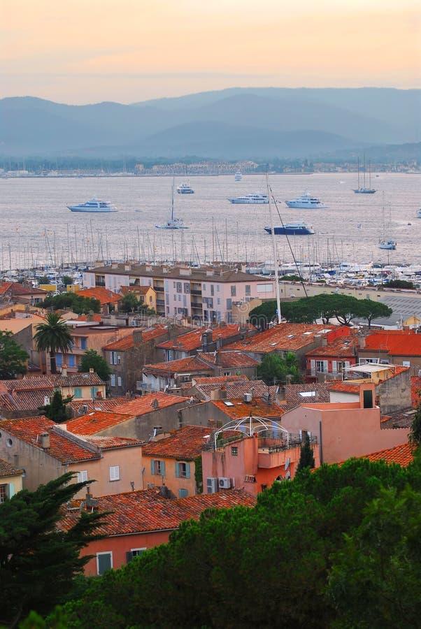 日落的圣特罗佩港口 免版税库存图片