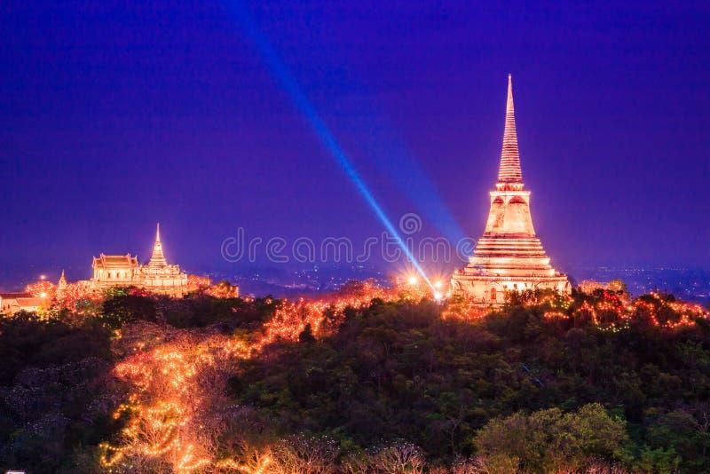日落的塔在Phra洛坤Khiri,泰国 免版税库存图片