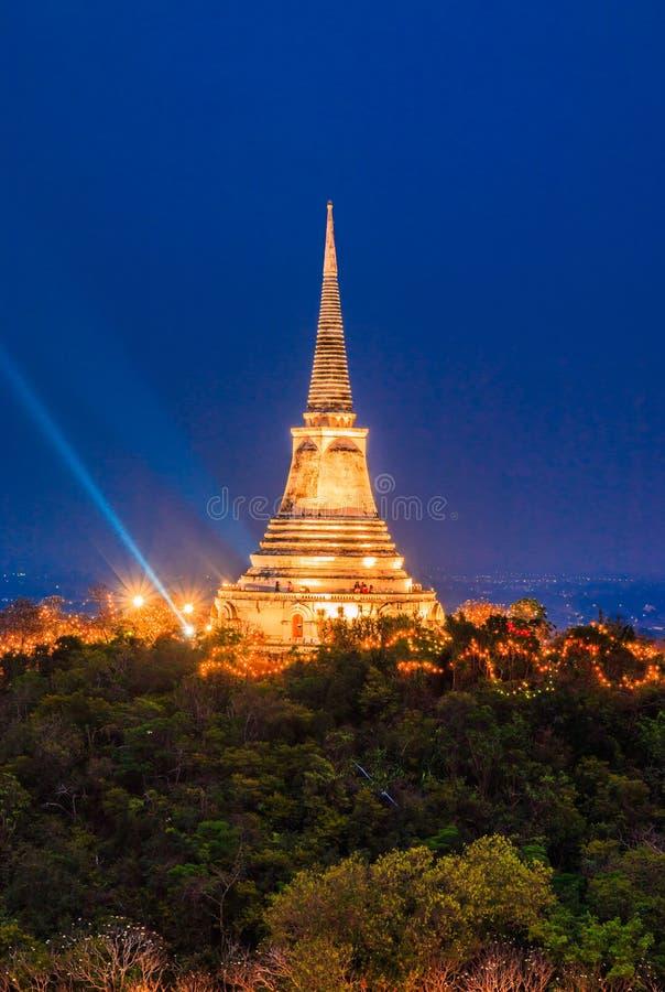 日落的塔在Phra洛坤Khiri,泰国 库存图片