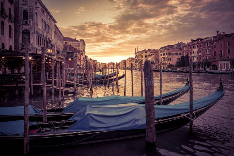 日落的大运河在威尼斯 免版税库存照片