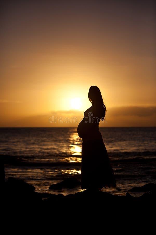 日落的孕妇 免版税库存照片