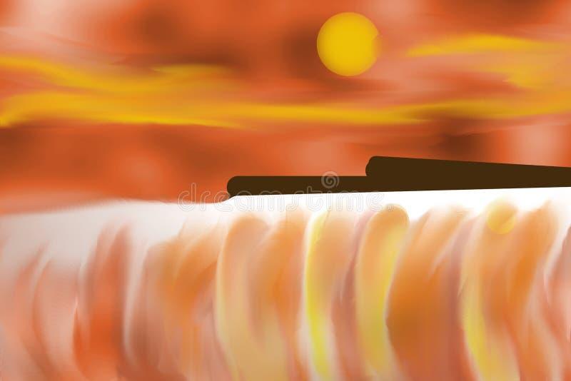 日落的尼亚加拉瀑布 向量例证