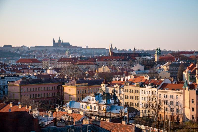 日落的布拉格市风景全景 库存图片