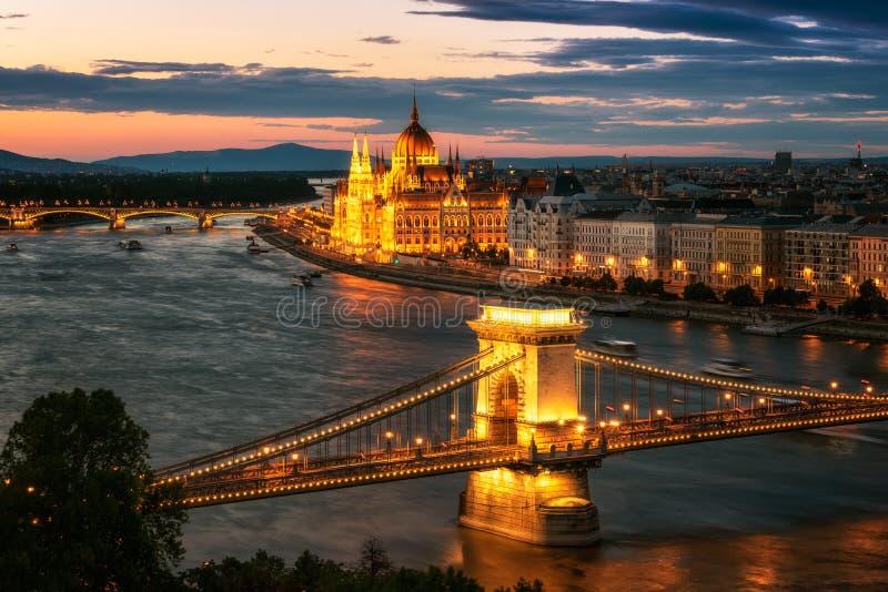日落的布达佩斯 免版税库存图片