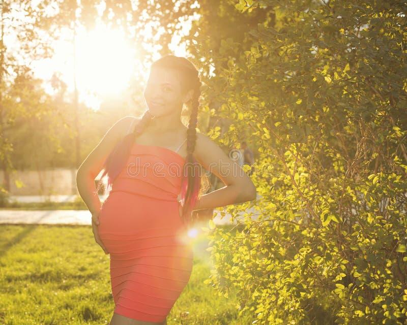 日落的怀孕的女孩在城市公园 库存图片